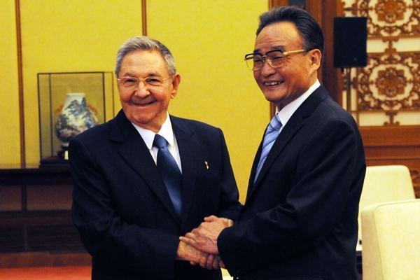 Entrevista entre Raúl Castro y Wu Bangguo.