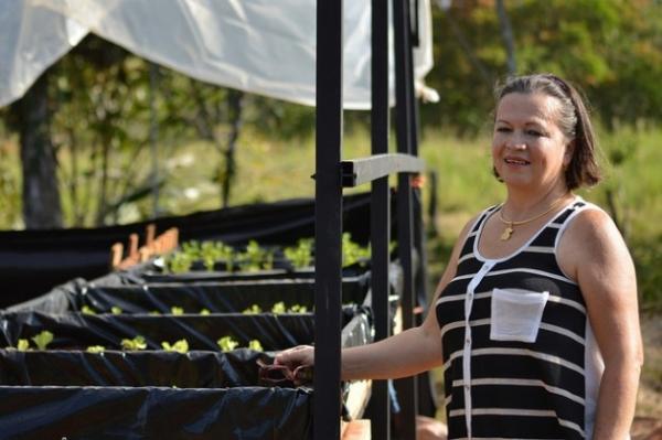 Olga Vargas, ante parte del vivero con que la Asociación de Mujeres de Quebrada Grande de Pital comenzó a revitalizar su negocio sostenible, que tiene como prioridad la reforestación.