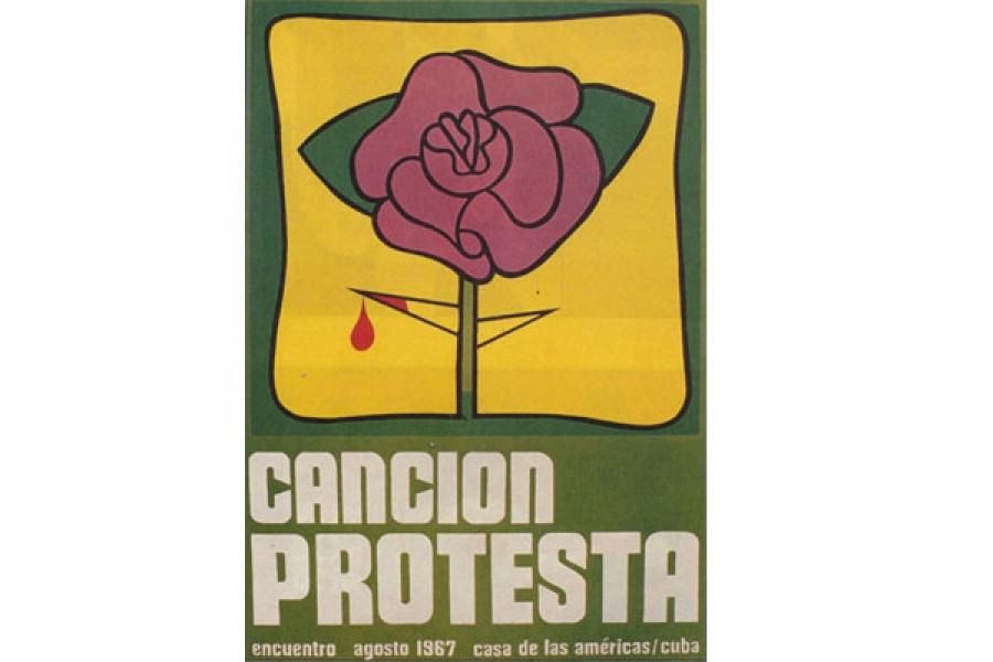 Cartel para el evento de la Canción protesta, con el que luego se identificaría el Movimiento de la Nueva Trova