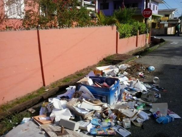 La epidemia de chikungunya en el Caribe se atribuyó, en parte, al vertido indiscriminado de basura como en esta calle en Curepe, en Trinidad. Esto genera las condiciones propicias para la reproducción de mosquitos, el vector de la enfermedad.