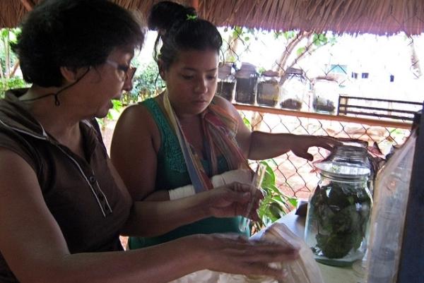 Mercedes Cepero (derecha) trabaja en el laboratorio de sanidad vegetal de la cooperativa Vivero Alamar