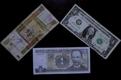 Dos monedas que son tres: arriba un peso convertible, equivalente al dólar, abajo un peso cubano.